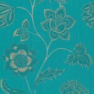 Nalini Wallpaper - Turquoise/Gilver (75106) - Harlequin