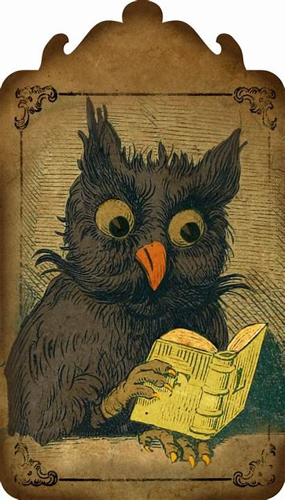 Owl Halloween Tag Digital Hang Tags Victorian