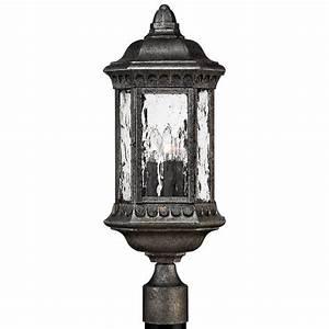 Hinkley, 1721bg, Regal, 3, Light, Black, Granite, Outdoor, Post, Lighting