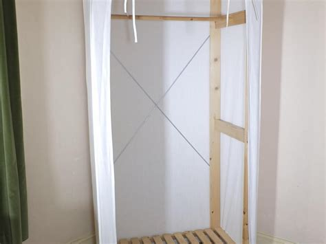 Ikea Wood Frame Canvas Covered Single Wardrobe In