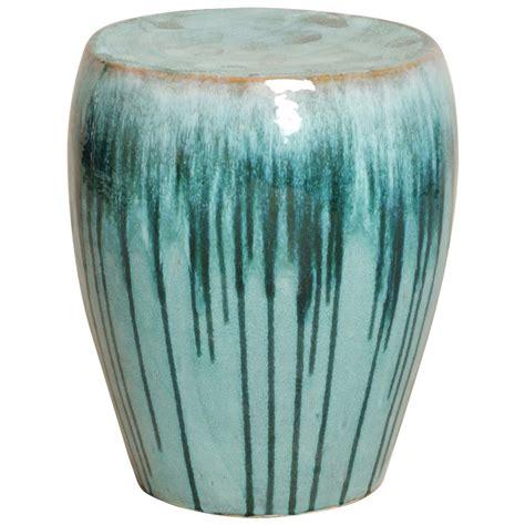ceramic garden stools turquoise teal drip coastal simple ceramic garden