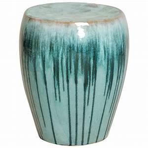 Turquoise teal drip coastal beach simple ceramic garden for Teal garden stool