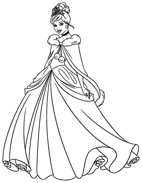 disegni disney principesse cenerentola da colorare e stare