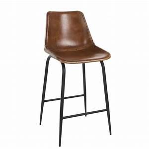 Chaise De Bar Metal : chaise bar cuir et m tal cognac marron achat vente tabouret de bar gris cdiscount ~ Teatrodelosmanantiales.com Idées de Décoration