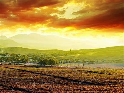 Tuscany Morning Italy Wallpapers Tea Magnificent Wall