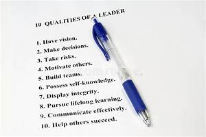 Ten Qualities Of A Leader Royalty Free Stock Photos ...