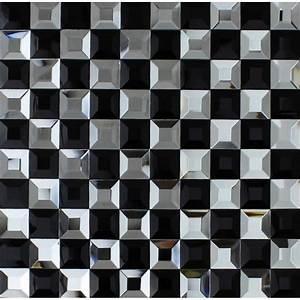 Black and white mosaic bathroom floor tiles pyramid 3d ...