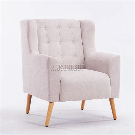 Fabric Armchair by Foxhunter Linen Fabric Tub Chair Armchair Dining Living