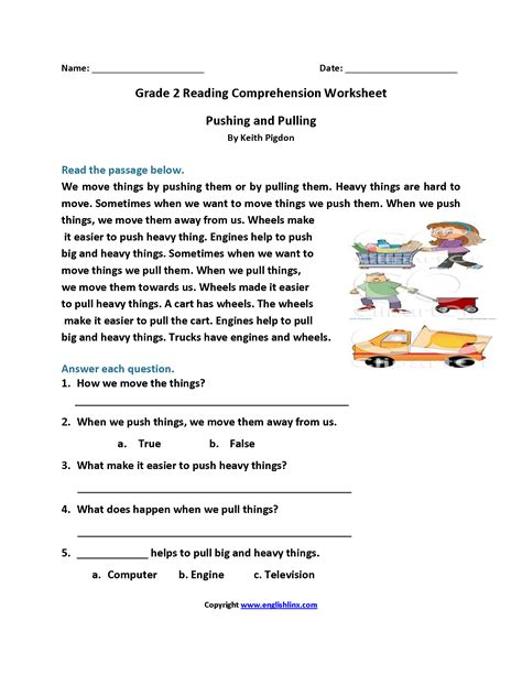 pushing and pulling second grade reading worksheets