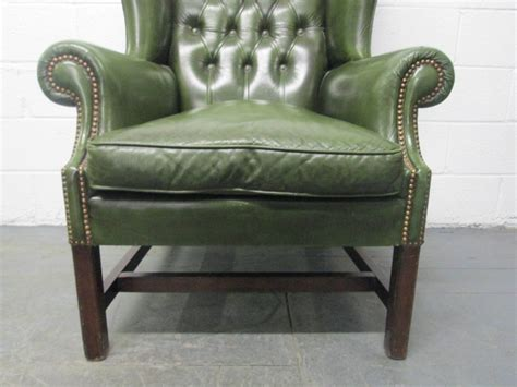 vintage green leather tufted wingback chair at 1stdibs