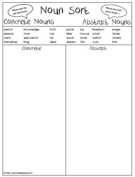 abstract noun worksheets grade 3 worksheets for all