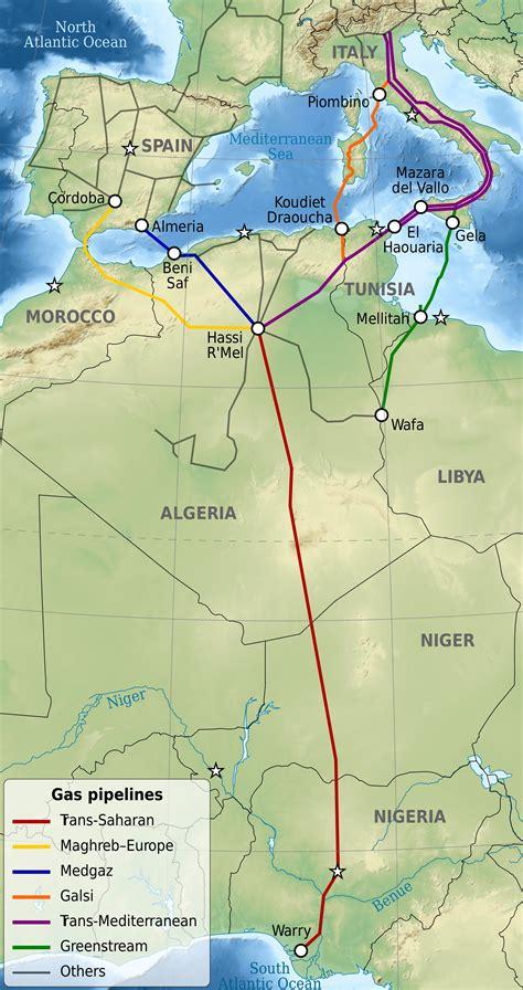 Carte Du Monde Afrique Europe by Afrique Europe Gazoducs Carte Populationdata Net