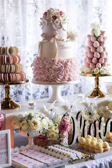 christening decorations pink ivory vintage christening dessert table kiara