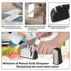 Knife And Scissor Sharpener Kitchen Knife Sharpener 4 In 1 Manual System 3 Stage Knife
