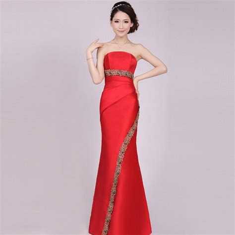 long red mermaid floor length chinese traditional