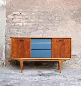 Meuble Scandinave Vintage : petit meuble vintage teck tiroirs bleu p trole 128 cm gentlemen designers ~ Teatrodelosmanantiales.com Idées de Décoration