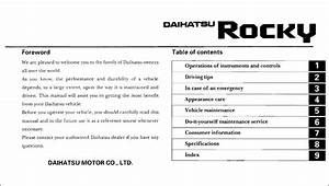 1990 Daihatsu Rocky Owners Manual 90 Owner User Guide Book