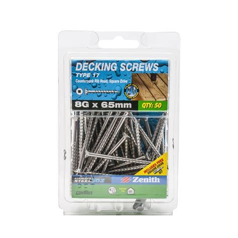Deck Fasteners Bunnings by Zenith 8g X 65mm Stainless Steel Type 17 Decking Screws