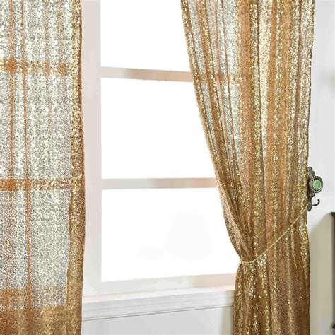 Gold Drapery Panels - 2 pack 52x84 quot gold sequin accented window treatment home
