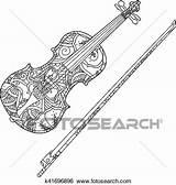 Coloring Violin Ornamental Clip Fiddlestick Isolated Fotosearch Adult Children sketch template
