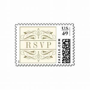 Elegant flourish gold ivory wedding rsvp stamps luxury for Wedding rsvp cards stamps