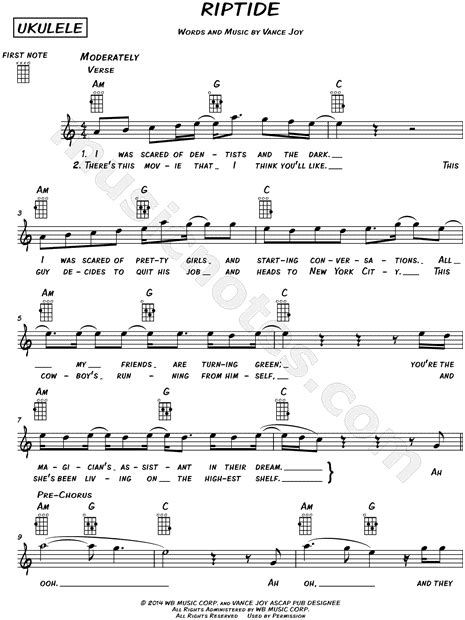 """Vance joy's 2013 hit riptide has been one of the most popular songs to play on ukulele since it's debut 5 years ago. Vance Joy """"Riptide"""" Sheet Music (Leadsheet) in A Minor - Download & Print - SKU: MN0145573"""