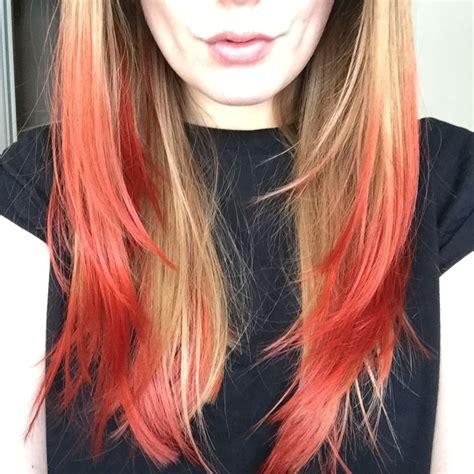 Long Blonde Brown Hair With Vibrant Red Dip Dye Hair