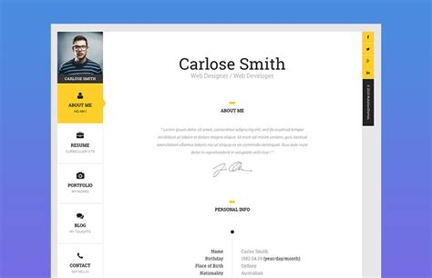 Best Resume Website Templates by 18 Best Html Resume Templates For Awesome Personal