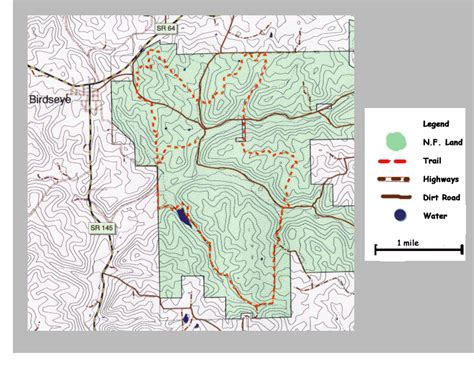 topographic map  birdseye trail  hoosier national
