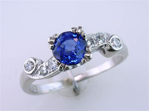 Art Deco Vintage Antique 1.46ct Sapphire Diamond 14k