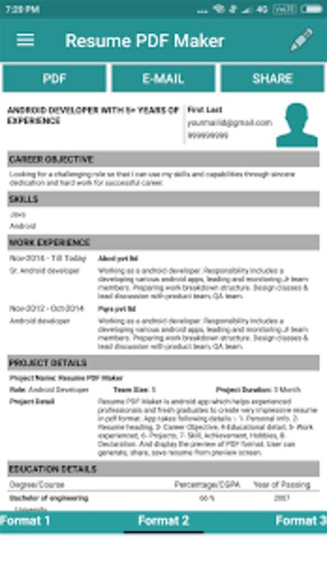 Auto Resume Maker by Resume Pdf Maker Cv Builder For Android