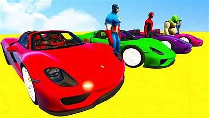 Cartoon Spiderman Colors Sport Cars Race Learn