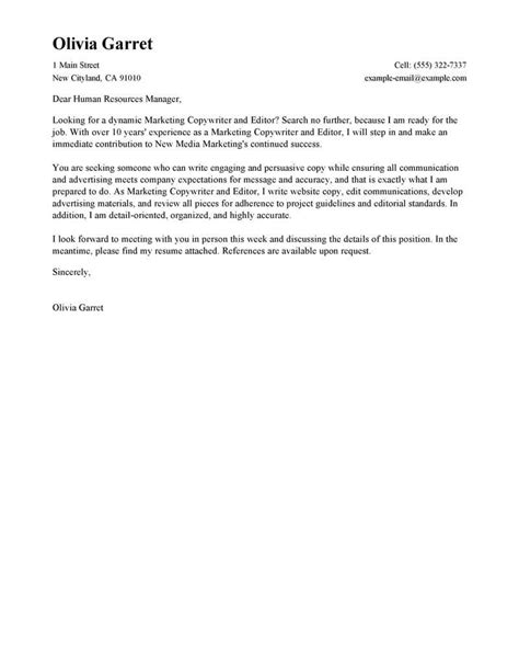 Best Copywriter and Editor Cover Letter Examples | LiveCareer