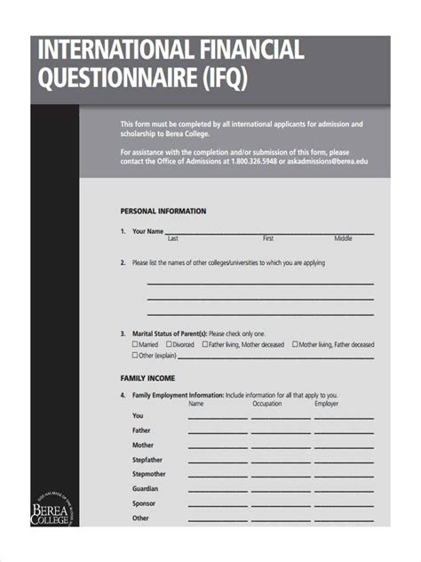 financial questionnaire forms   ms word