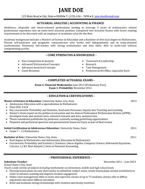 Actuarial Science Resumes by Actuarial Analyst Resume Sle Template