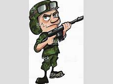 Cartoon Soldier In Jungle Camouflage Stock Vector Art