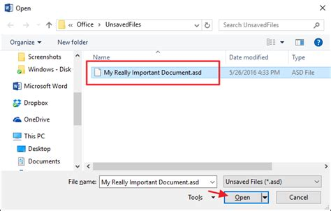 recover  unsaved microsoft office file
