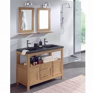 meuble salle de bain chene huile table de lit a roulettes With meuble salle de bain a fixer au mur