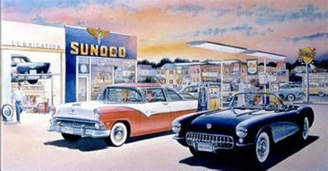 sunoco corvette cars pinterest sunoco station print from 1958 with 57 chevy on rack 55