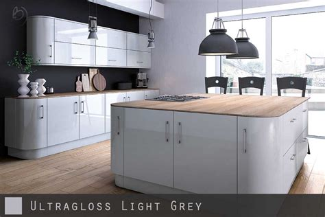 grey gloss kitchen cabinets ultra high gloss light grey kitchen doors 4064