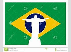Brazil Flag With Jesus Of Rio Royalty Free Stock