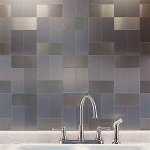 Ultra modern metal backsplash tiles the homy design for Kitchen colors with white cabinets with brushed aluminum wall art