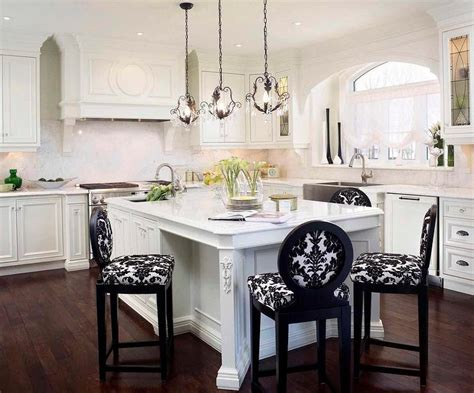 Black And White Damask Counter Stools  Transitional  Kitchen