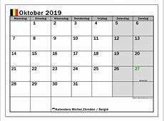 Kalender oktober 2019, België