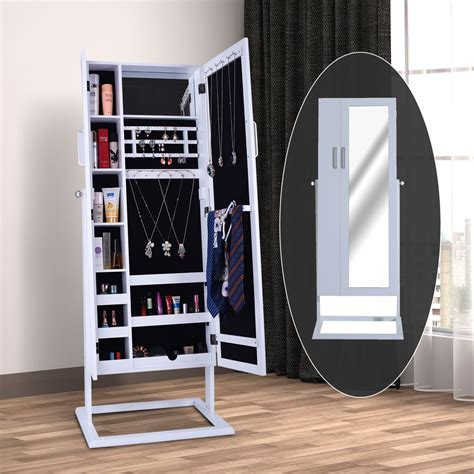 Large Mirrored Jewelry Cabinet Armoire Stand Earring Ring
