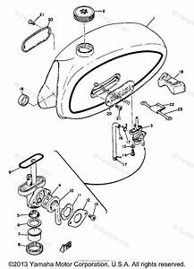 Yamaha Motorcycle 1970 Oem Parts Diagram For Fuel Tank