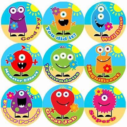 Stickers Reward Teacher Praise Words Monster Children