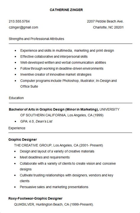 Graphic Design Student Resume Exles by Graphic Design Student Resume Template