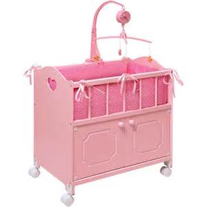 badger basket pink doll crib with cabinet bedding