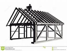 House Framing Clip Art Illustration of wooden frame for walls and roof      Construction House Clip Art Black And White